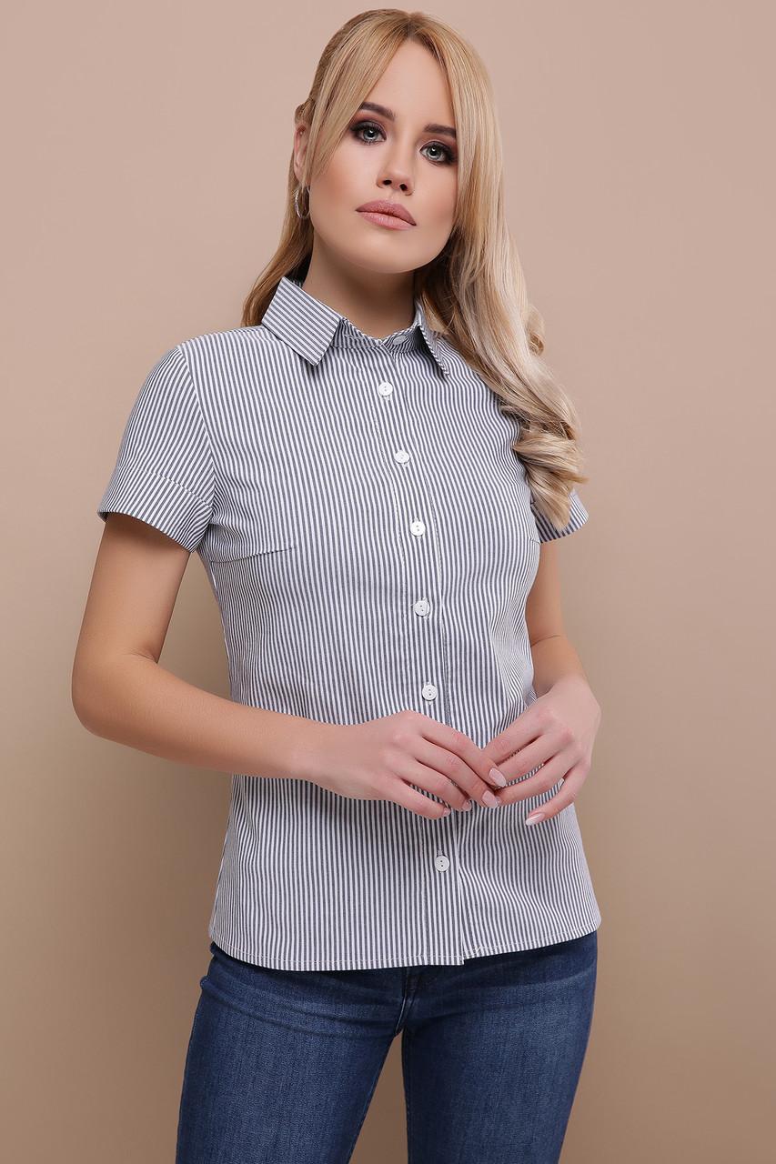 Женская строгая блуза в серую полоску с коротким рукавом  Рубьера к/р