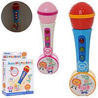 Микрофон 846-4 (72шт) 21см, муз, звук, свет, 2цвета, на бат-ке, в кор-ке, 16-23-6,5см