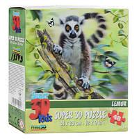 Пазлы 3D 13549 (32шт) лемур, 31-23см, 48дет, в кор-ке, 15-15-5см