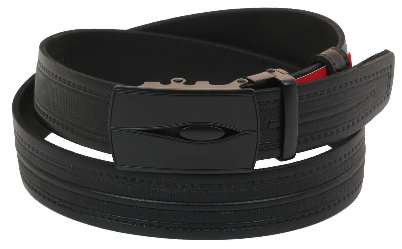 Мужской кожаный ремень под брюки Skipper 1010-35 черный ДхШ: 128х3,3 см.