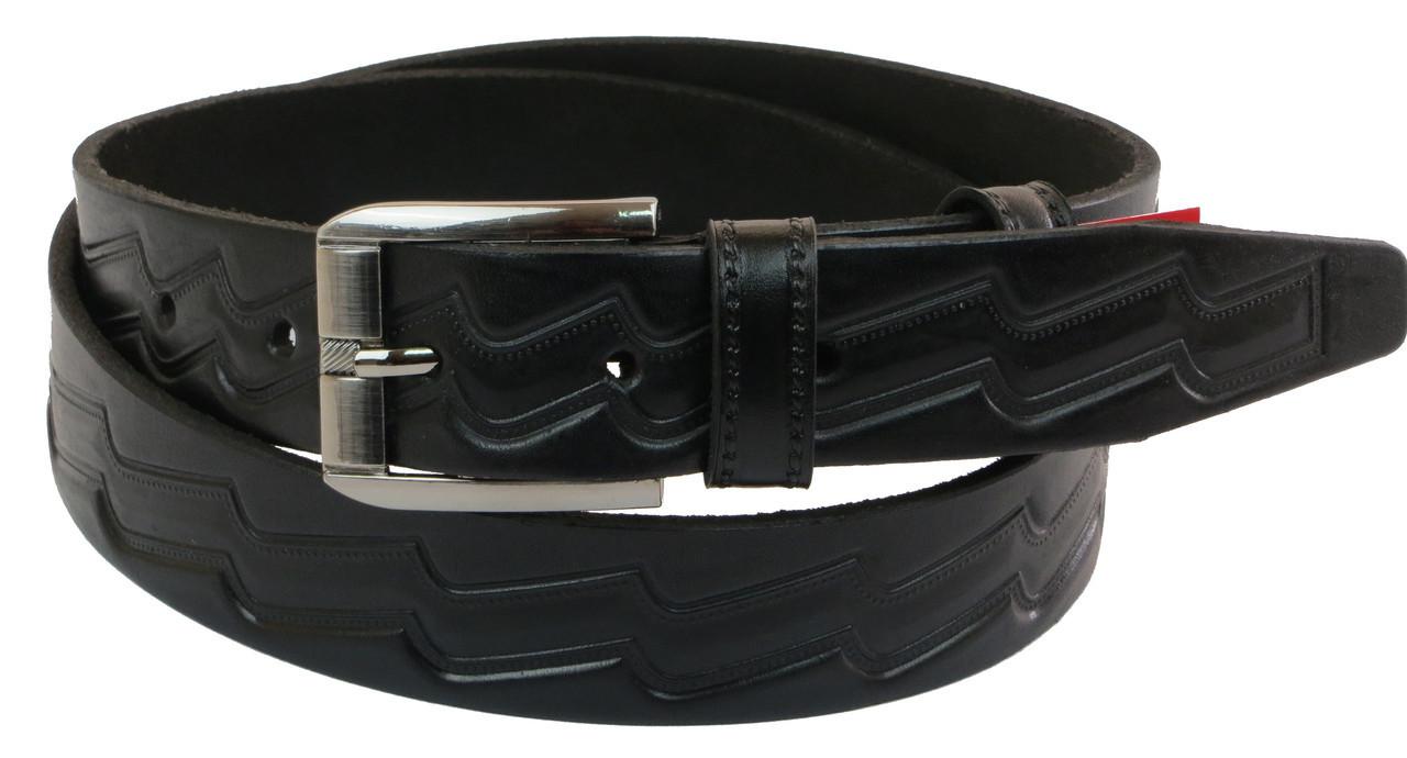 Мужской кожаный ремень под брюки Skipper 1020-35 черный ДхШ: 126х3,5 см.