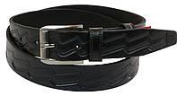 Мужской кожаный ремень под брюки Skipper 1020-35 черный ДхШ: 126х3,5 см., фото 1