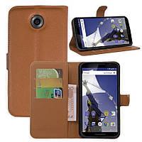 Чехол-книжка Litchie Wallet для Motorola Nexus 6 XT1103 Коричневый