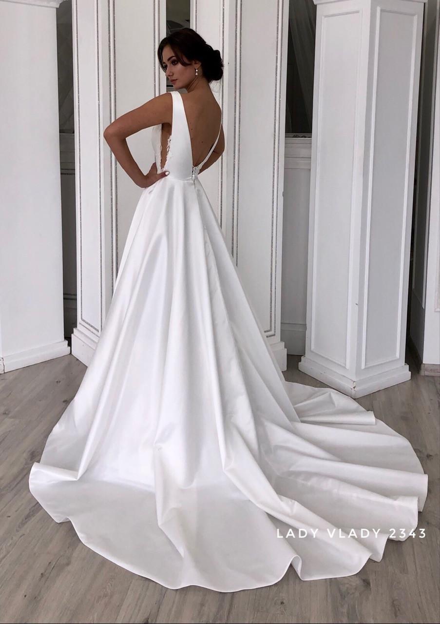 Свадебное платье а-силуэта, атласное с кружевом  и  со шлейфом Lady Vlady 2019