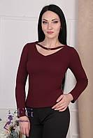 """Женская кофта с чокером """"Вероника"""". Распродажа модели 42, бордовый"""