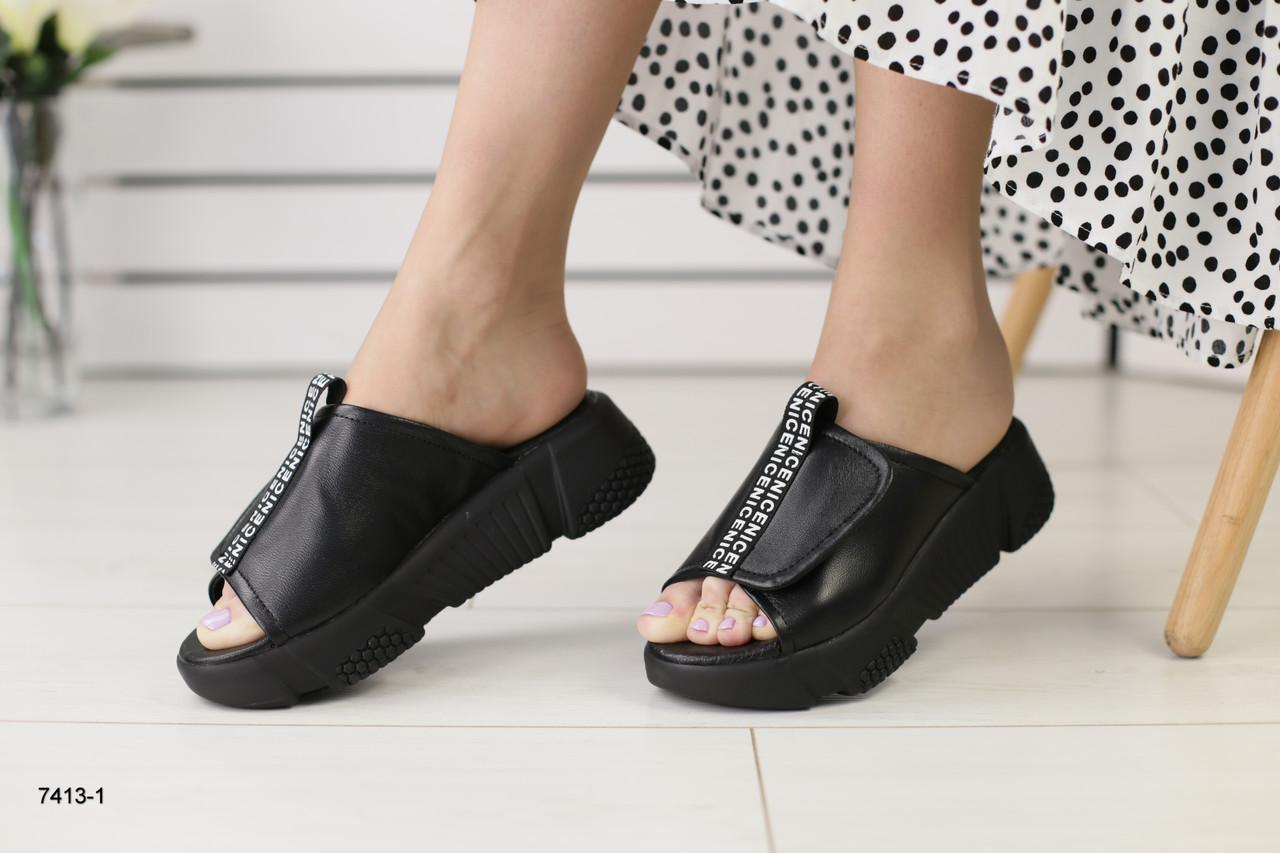 4225b7773 Женские шлепанцы черная кожа на черной платформе : продажа, цена в ...