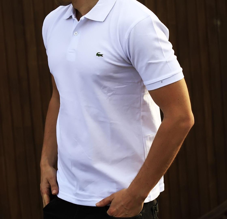 e49cadc17105 Мужская футболка поло Lacoste белая (копия)