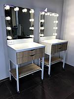 Комплект гримерный на металлическом каркасе 650×500×900 мм. Гримерное зеркало с подсветкой. Зеркало с лампами.