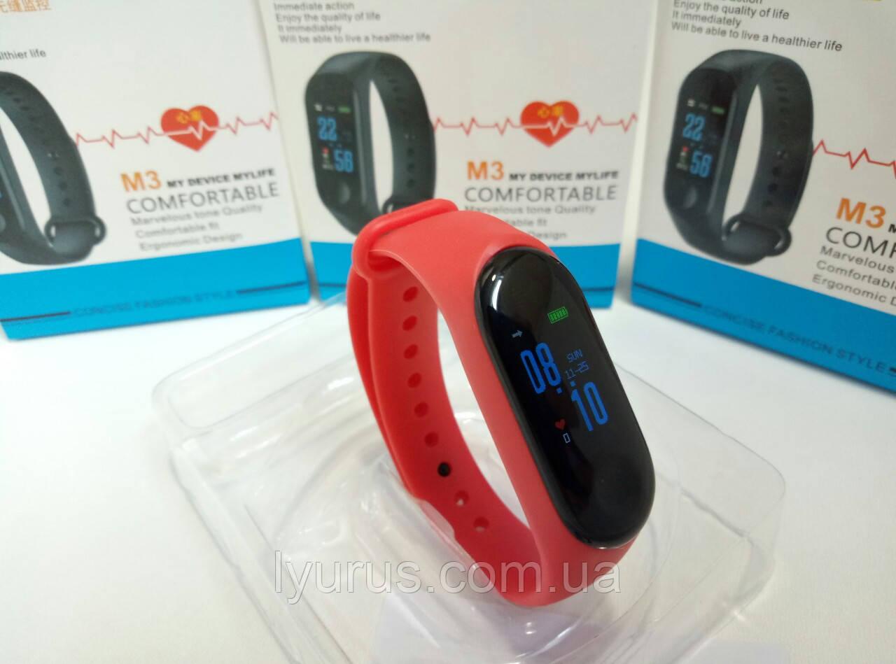 Фитнес браслет Mi Band M3 цветной экран, фитнес трекер, умные часы, шагомер,измерение давления,цвет красный