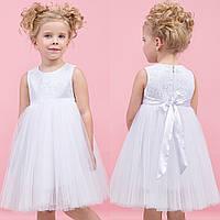 Белоснежное платье с кружевным верхом zironka
