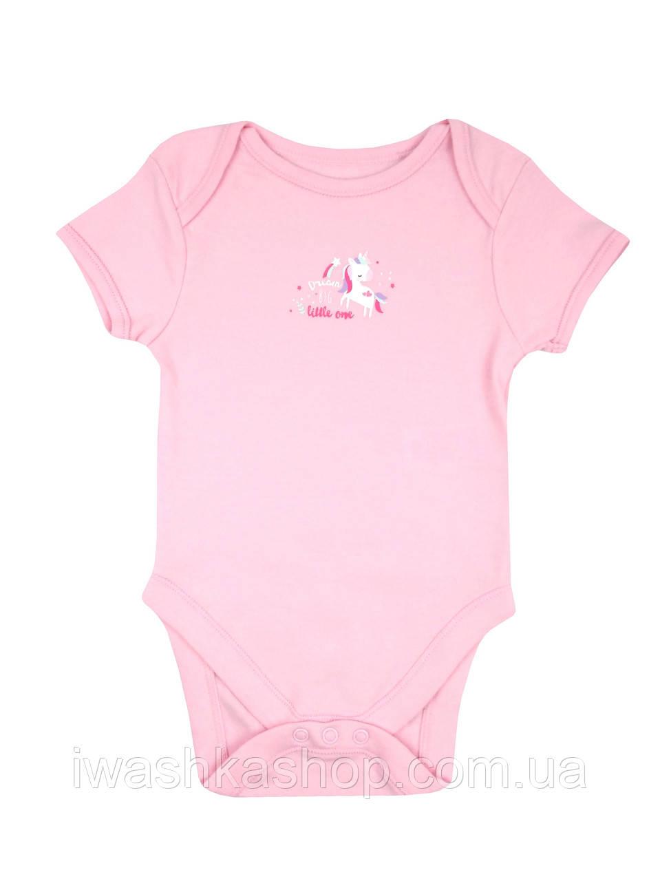 Розовое боди с короткими рукавами, с единорогом на девочек 3 - 6 месяцев, р. 68, Early days by Primark