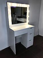 Комплект гримерный однотумбовый 900×450×900 мм. Зеркало с лампочками. Зеркало с подсветкой. Туалетный столик.