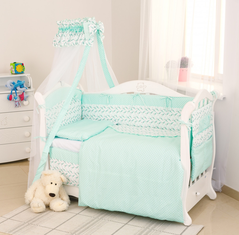 Детская постель Twins Premium Пташки 8 эл.(  Постіль Twins Premium P-032 Пташки мята)