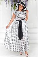 Длинное платье летнее в горох, с 50-54 размер, фото 1