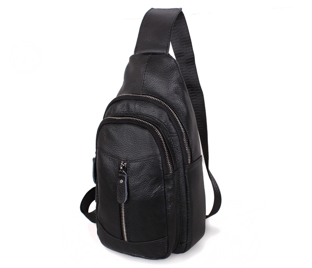 17fbc4f3fbed Мужская кожаная сумка-рюкзак Dovhani Bon318-12 Черная - Интернет магазин