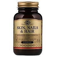 Витамины для кожи, ногтей и волос SOLGAR, Skin, Nails & Hair, улучшенная МСМ формула (60 таб)
