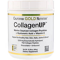 "Морской коллаген-пептид California GOLD Nutrition ""CollagenUP"" 5000 mg, с гиалуронкой и витамином C (464 г)"
