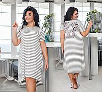 Летнее платье асимметричное с вышитой пайеткой, с 50-56 размер, фото 1