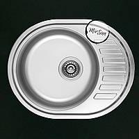 Овальная, врезная кухонная мойка Falanco 57*45 см, матовая, толщина 0,6мм, глубина 160мм, фото 1