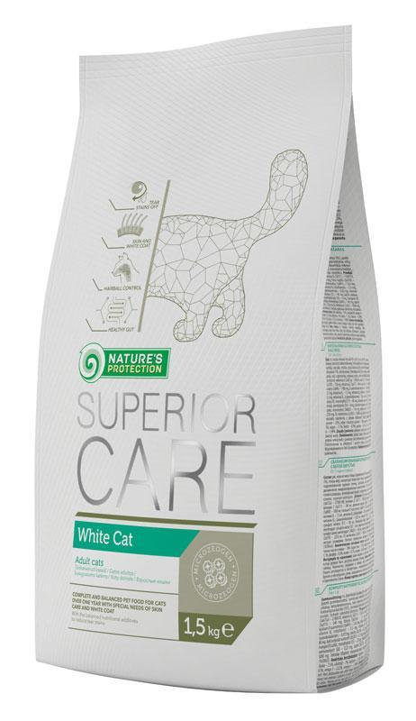 Nature's Protection Superior Care White Cat корм для взрослых белошерстных кошек, 1.5 кг