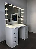 Комплект гримерный двухтумбовый 1 200×470×750 мм.Гримерный столик. Зеркало с подсветкой. Мебель под заказ.