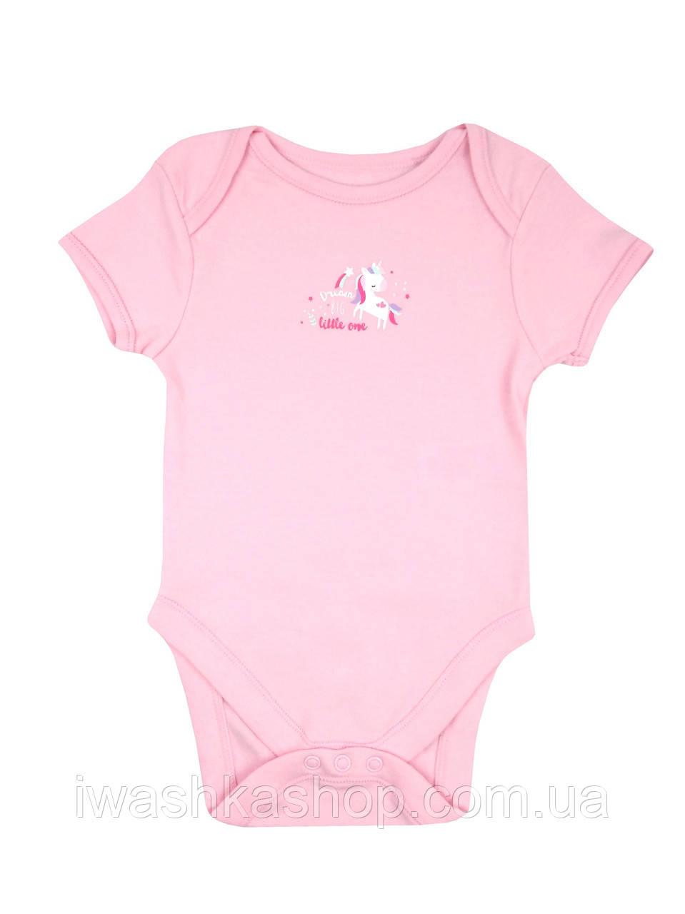 Розовое боди с короткими рукавами, с единорогом на новорожденных девочек до 1 месяца, Early days by Primark