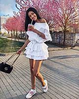 Женское нежное платье из легкой струящейся ткани с воланами (в расцветках)
