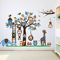 """Наклейка на стену в детскую детский сад """"звери возле дерева с совами"""" 95см*186см (4 листа 30*90см)"""