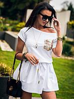 Женское стильное трикотажное платье, декор пайетка  (в расцветках)