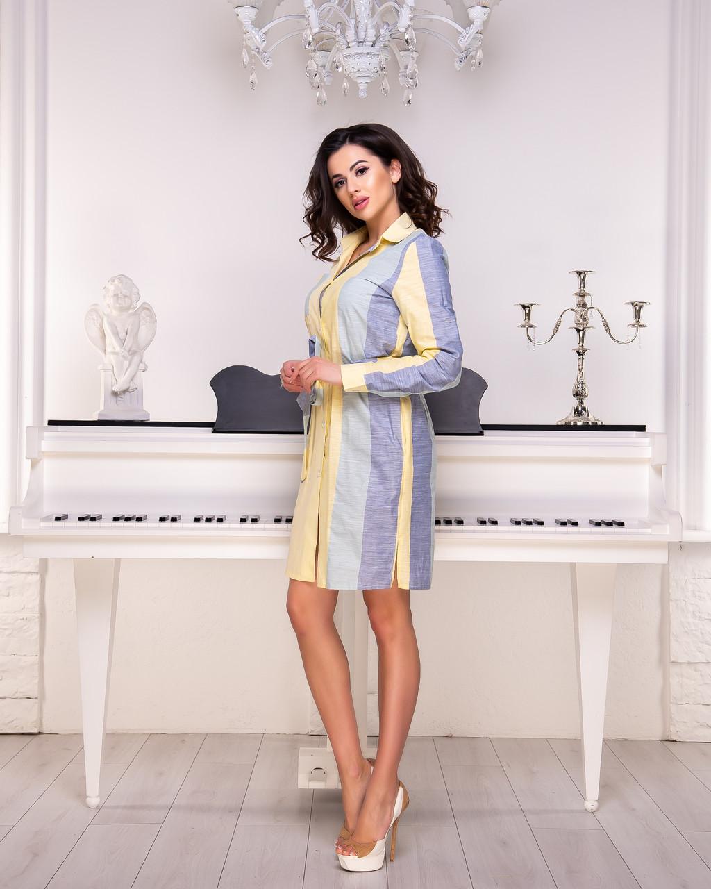 Платье-рубашка синяя комбинированная в  полоску