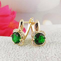 """Серьги Xuping Jewelry """"Альба"""" зеленый камень, медицинское золото, позолота 18К, английский замок. А/В 3017"""