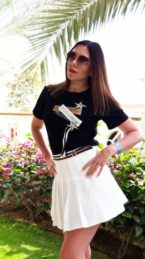 Женская летняя футболка с накаткой и декором р.42-46