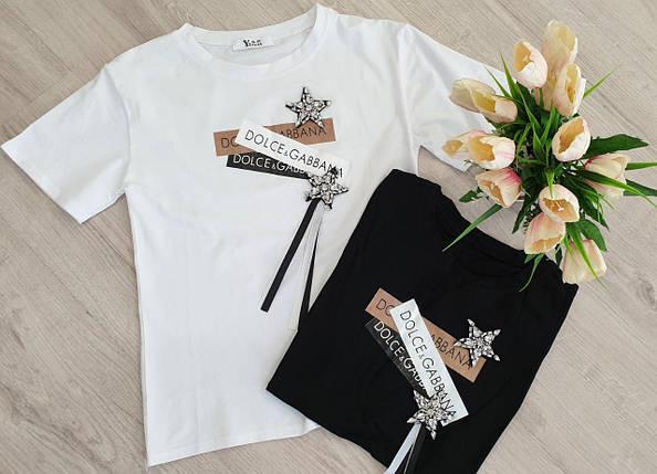 Женская летняя футболка с накаткой и декором р.42-46, фото 2