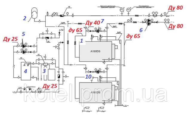 Схема гидравлических компонентов котельной ТТК Колви 400 квт