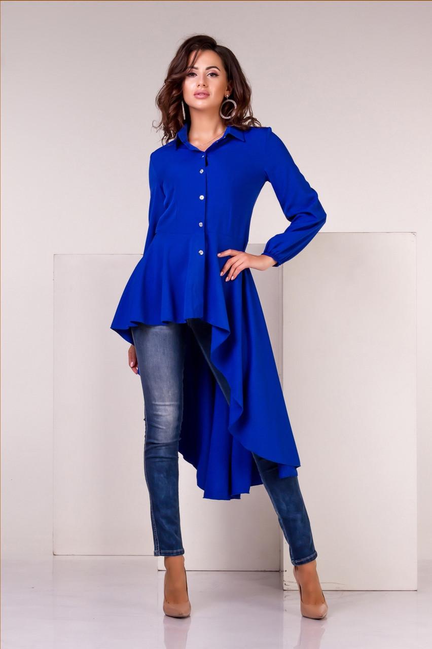 Блузка асиметрична синього кольору