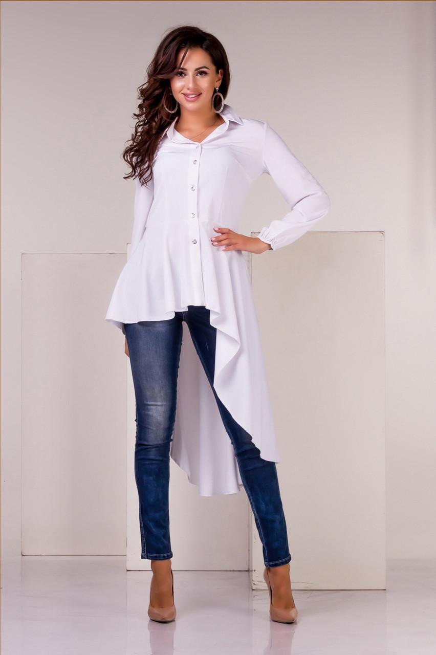 Блузка асимметричная белого цвета