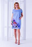 Платье с сублимацией  голубого  цвета  , фото 1
