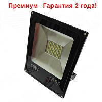 Светодиодный прожектор LED 50W Slim премиум SMD (черый), фото 1