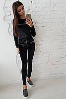 Черный велюровый костюм с молниями