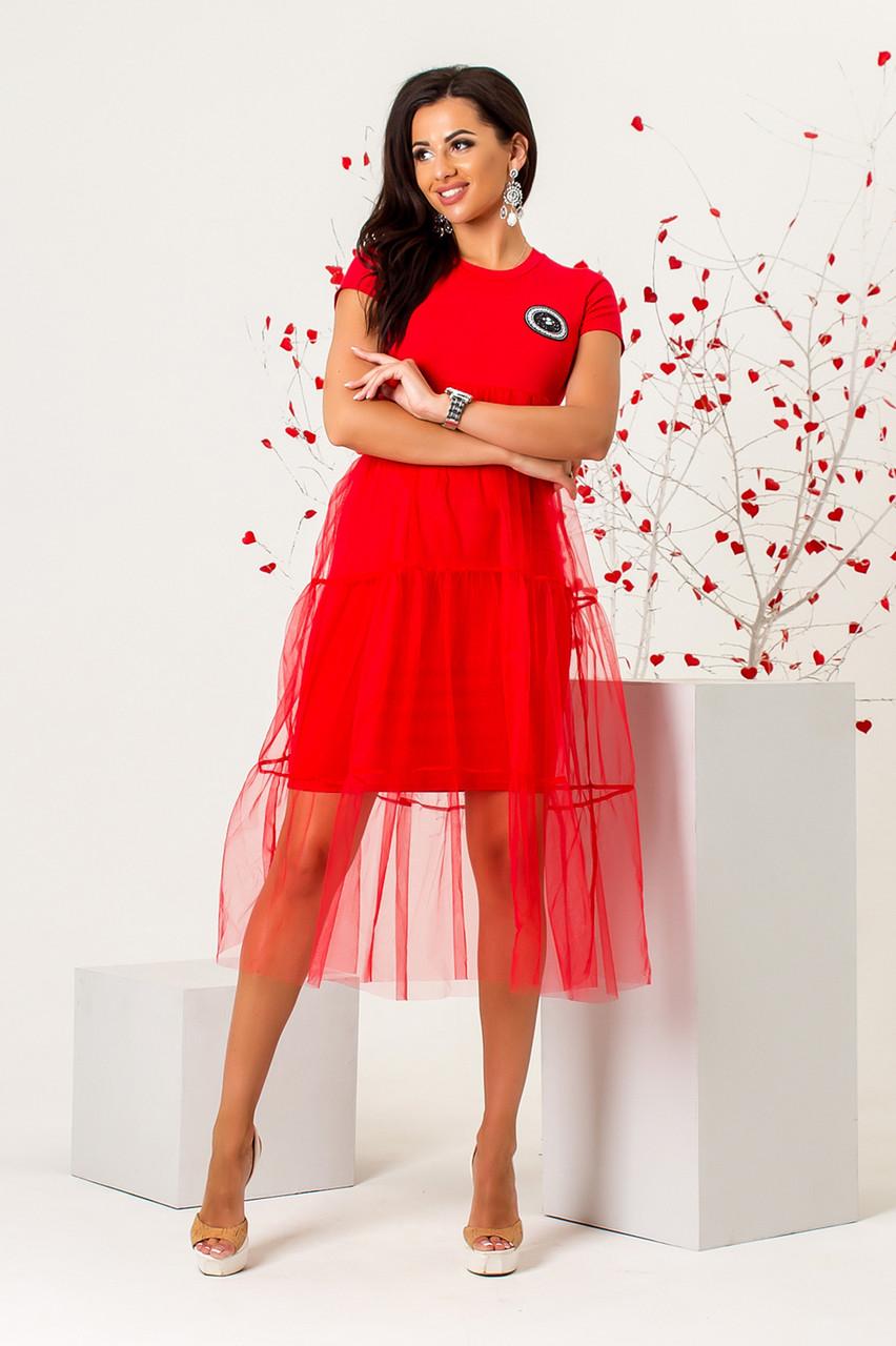 Платье нарядное красного цвета 42-44
