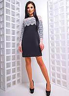 Неопреновое платье трапеция с кружевными рукавами