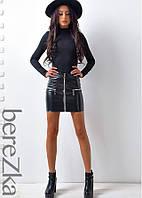 Мини-юбка из лакированной искусственной кожи