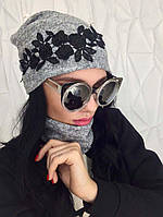 Женская шапка и снуд серого цвета с кружевом