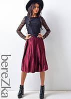 Атласная юбка миди со складками