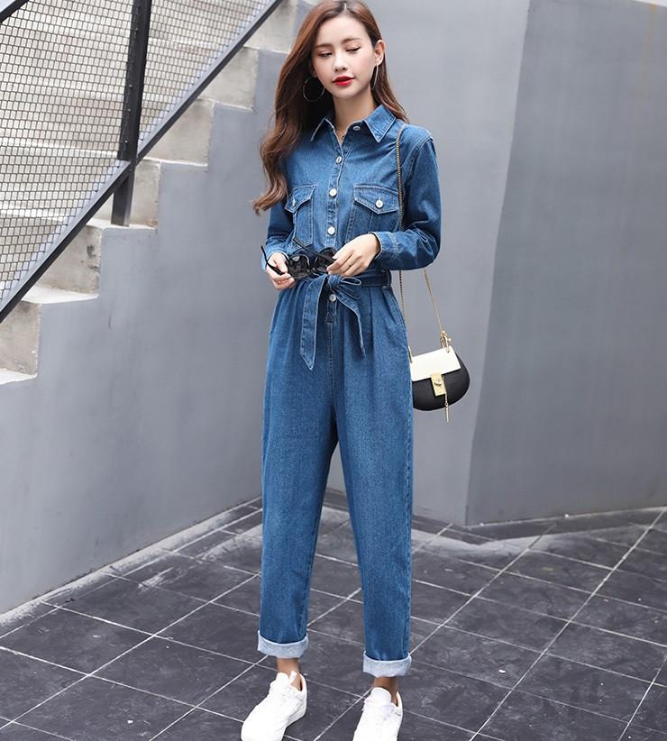 Комбинезон плотный джинс сзади и по бокам есть карманы. Размер: 42-46. Цвет: синий (6318)