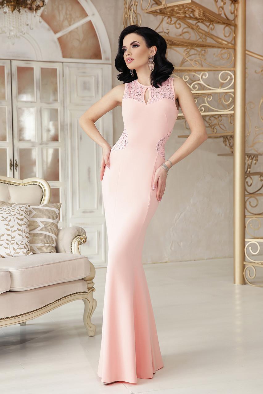 5e44c0edbea Облегающее вечернее платье в пол с кружевной полуоткрытой спинкой персиковое  - Интернет-магазин
