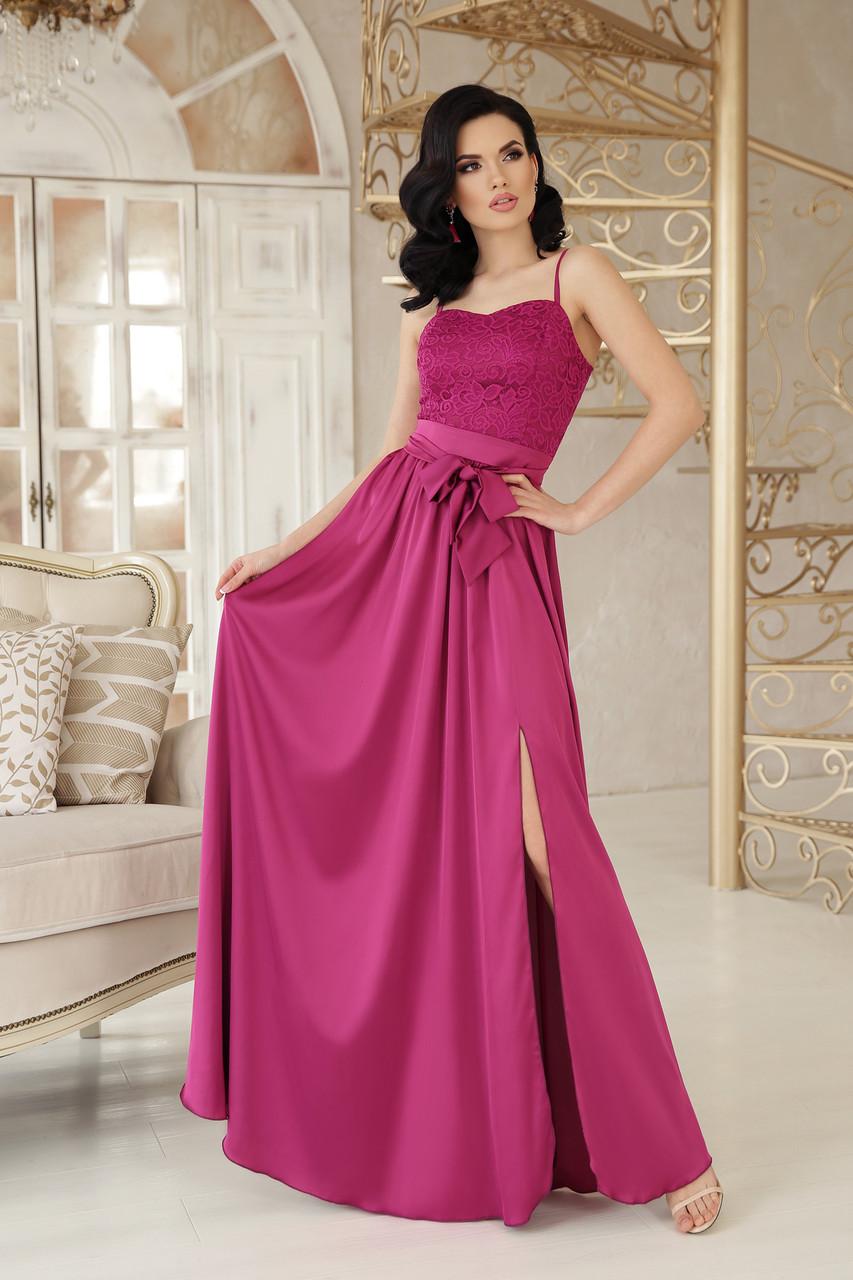 15060245ba3 Длинное вечернее платье на бретелях с разрезом на пышной юбке и поясом  фуксия