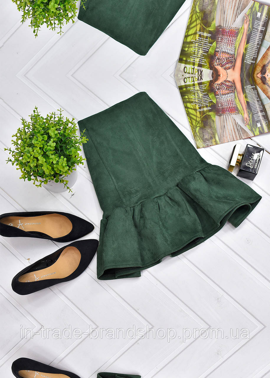 Замшевая мини-юбка с оборкой