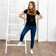 Жіноча футболка вишиванка Багрові маки, фото 3