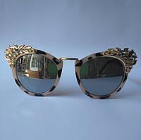 Женские солнцезащитные очки KAIZI тигровые с камнями